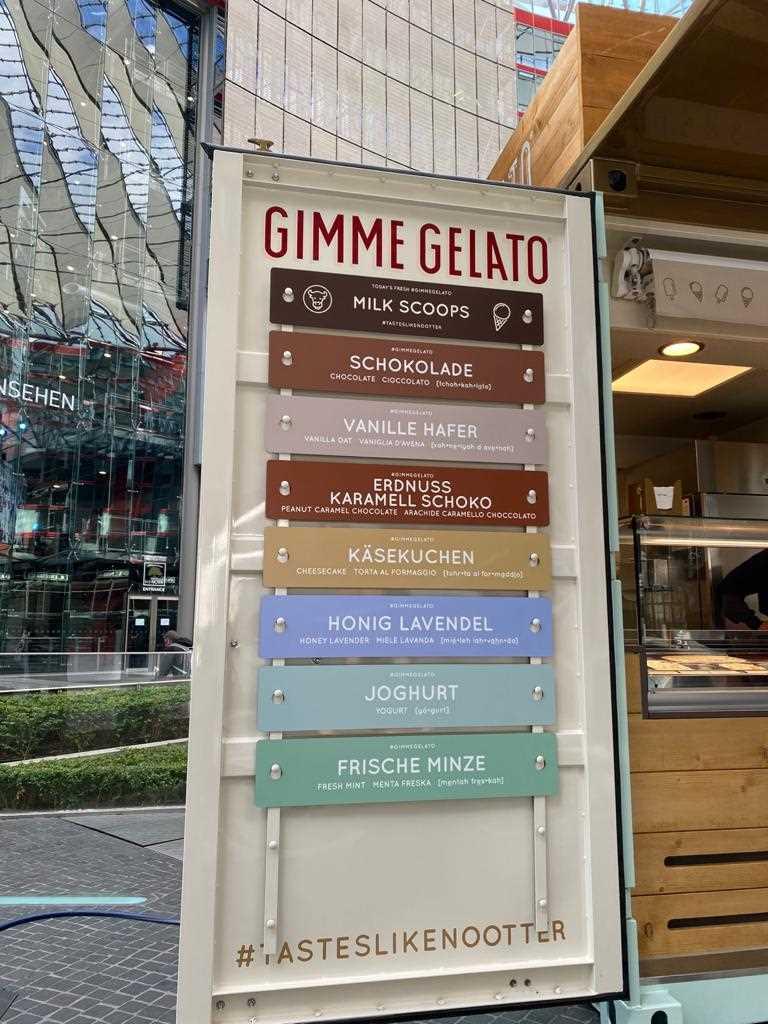 Eis Gimme Gelato Auswahl im Sony Center
